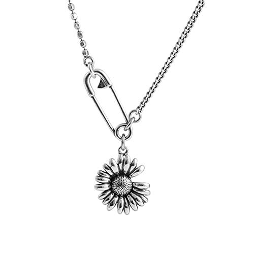 Collar personalizado, collar con colgante creativo, colgante personalizado de flor de sol, chapado en cobre, puede servir como día de la madre, regalo de Acción de Gracias 15.7+2.0in blanco