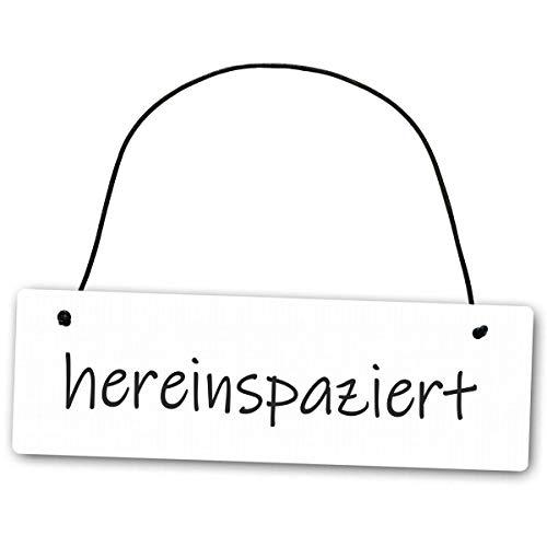 Homeyourself Hochwertiges Schild 25 x 8 cm hereinspaziert weiß Dekoschild Wandschild herzlich Willkommen
