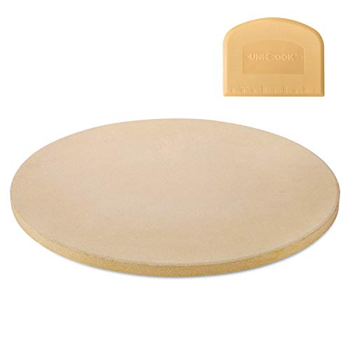 Unicook 16 Inch Round Pizza Baking Stone, Heavy Duty Ceramic Pizza Grilling Stone for Oven and Grill, Thermal Shock Resistant, Ideal for Baking Crisp Crust Pizza, Bread and More, Includes Scraper