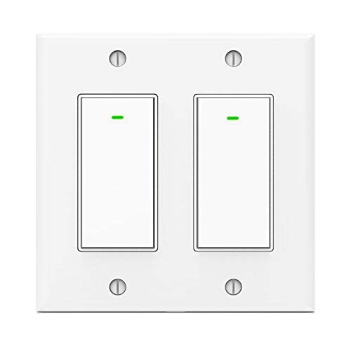 Kkcool Smart Switch, Smart Light Switch Work with Google Home and IFTTT, Voice Remote Control,2.4Ghz Wi-Fi Light Switch, No Hub Required, Single-Pole, Neutral Wire Required, 2 Gang