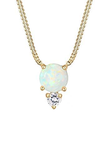 Elli Halskette Damen Vintage Elegant mit Zirkonia Kristallen und Opal in 925 Sterling Silber vergoldet