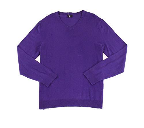 Alfani Mens v Neck Knit Sweater, Purple, XX-Large