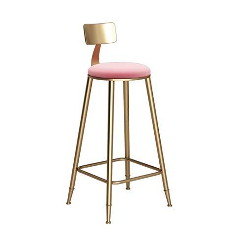 Sedie Cucina semplicità Moderna Sgabello Alto Velluto Pad Bar Sgabello Wine Gold Counter Chair Cucina Breakfast Bar Chair 46 × 46 × 68CM ZHML (Color : Pink)