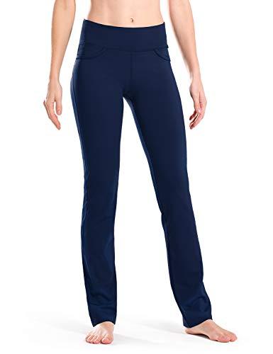 Safort Gerade geschnittene Yogahosen für Damen 160cm -182 cm, 4 Hosentaschen, undurchsichtig, Blau (blue), EU 36-38 (L)