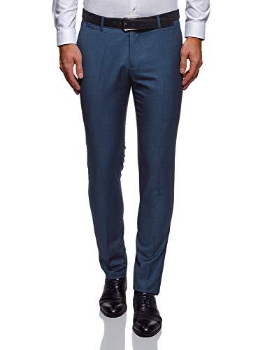 oodji Ultra Uomo Pantaloni Slim Fit Basic, Blu, 44