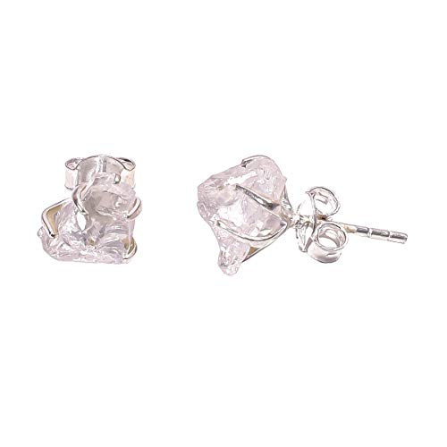 925 Sterling Silver Prong Stud Earrings, Natural Raw Gemstone Handcrafted Women Jewelry RSSE (Crystal)
