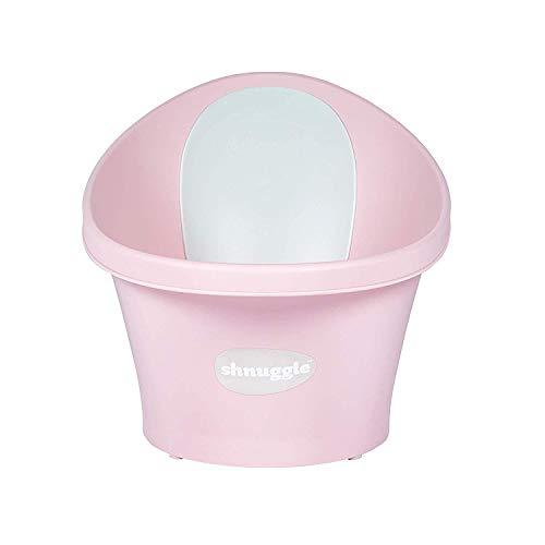 Shnuggle SBP-RSE-EUR Badewanne für Neugeborene bis zu 12 Monate mit Stöpsel am Boden, rosa mit weißer Rückenlehne – 1,2 kg