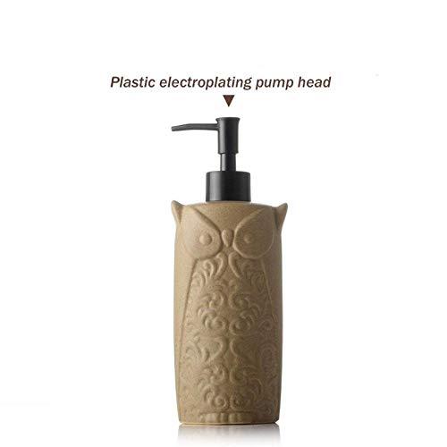 Unbekannt Keramik Emulsion Dispenser Press Leere Flasche Hotel Shampoo Duschgel Waschflasche Eule Mittlere Kapazität 450 Ml,A,Einheitsgröße