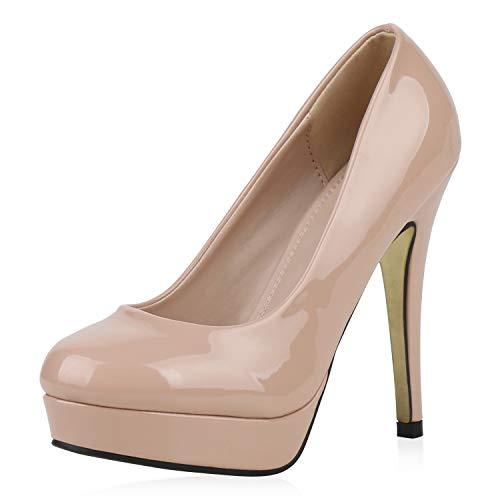 SCARPE VITA Damen Lack High Heels Plateau Pumps Abendschuhe Stilettos 192582 Nude Gold 38