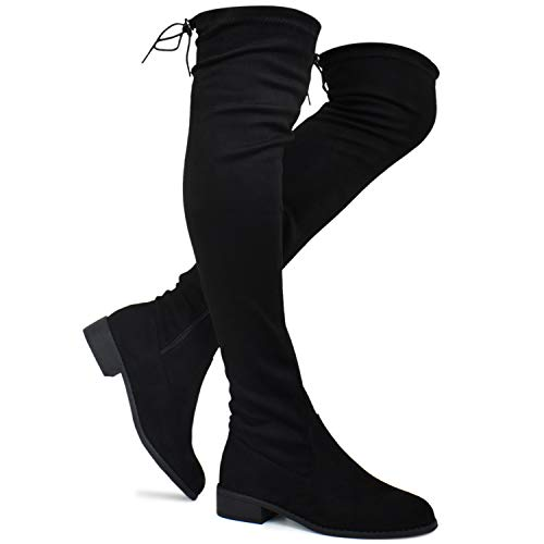Premier Standard - Women's Fashion Comfy Vegan Suede Block Heel Side Zipper Back Lace Thigh High Over The Knee Boots, TPS Boots-41Aipmylo Black Size 8.5