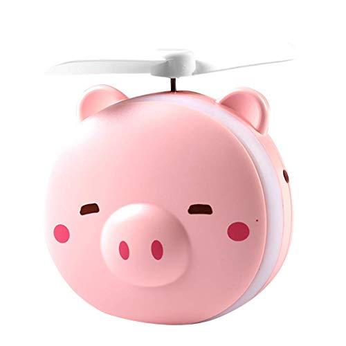 LLLKKK Kücheks Mini ventilador de mano con LED espejo de belleza, ventilador pequeño de refrigeración por USB, ventilador de mano para el hogar, oficina, camping y viajes (Pig C)