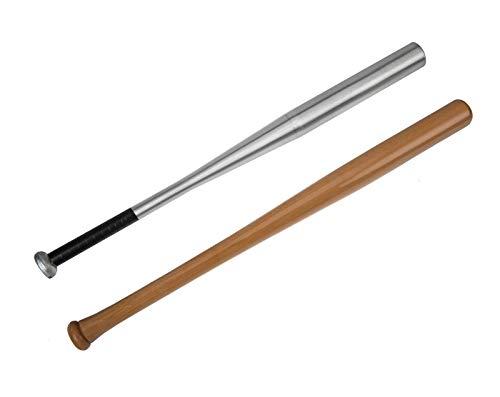 Edelstahlmarkenshop Baseballschläger aus Alu & Holz und in 6 Längen auswählbar von 54-84cm (Holz, 64cm)
