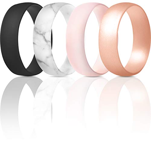 ThunderFit Silicone Wedding Ring for Men & Women - 4 Rings / 1 Ring Rubber Engagement Bands (Black, Marble, Light Pink Mix, Rose Gold, 5.5-6 (16.5mm))