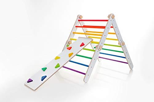 Marco de escalada para interior I Triángulo de escalada convertible I colorido transformable I plegable con o sin rampa I Orgánica Natural para niños y niños pequeños (con rampa)