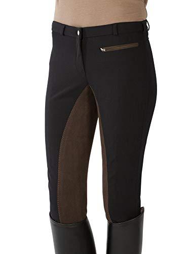 PFIFF 100368 Damen Reithose Softshell, farblich abgesetzter Vollbesatz, Schwarz 40