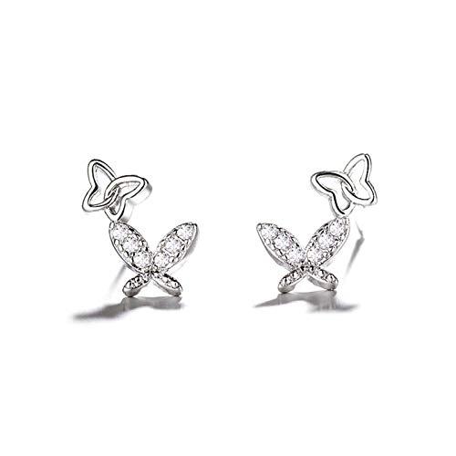 Xx101 Pendientes Pequeños Elegantes Plata Doble Mariposa Zircon Pendientes Joyería Femenina Regalo De Cumpleaños Colgante Nixx0