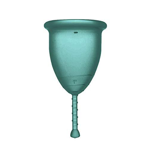 Rainbow Cup, Coppetta Mestruale Made in Italy in Silicone Medicale Senza Lattice e Additivi, Comoda, Ecologica, Sicura, in più Varianti, Coppetta Mestruale Tonica, Colore Smeraldo, Taglia 1