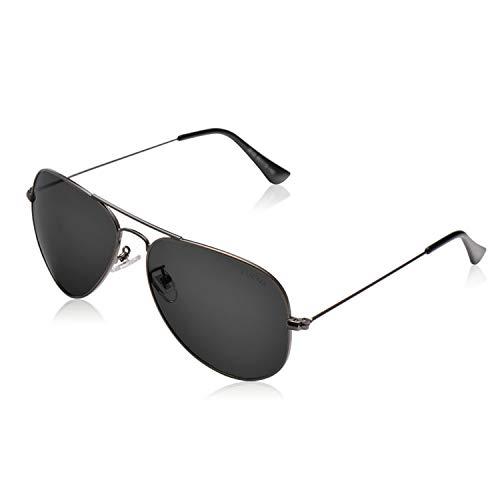 LUENX Herren Damen Polarisierte Sonnenbrille mit eleganten Brillenkette Fall–UV 400Schutz Farben 60mm L 18-Grey