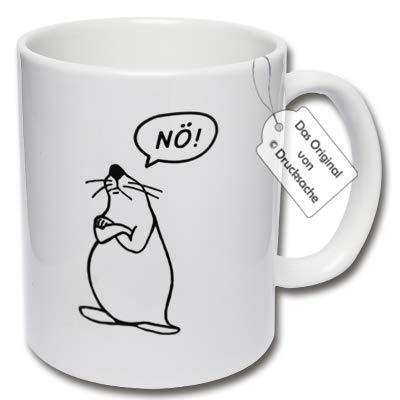 CRP Bedruckte Tasse mit Spruch - Lustige Kaffeetasse Seehund Nö! Geschenk Arbeitskollegen (B: Weiß)