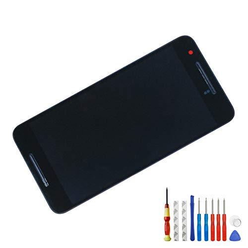 Melphyreal Pantalla táctil de cristal LCD para Google Huawei Nexus 6P H1511 H1512, color negro, marco y herramientas