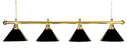 Iszy Billiards Metal Pool Table Light Billiard Lamp, Brass Rod with Black Shades, 72-Inch