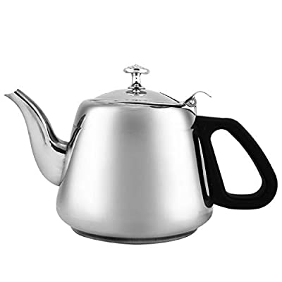 Tea Kettle Stainless Steel Stove-Top Teapot Coffee Pot Practical Modern Design Hot Water Teaware With Fine Filter To Brew Loose Leaf Tea (2L)