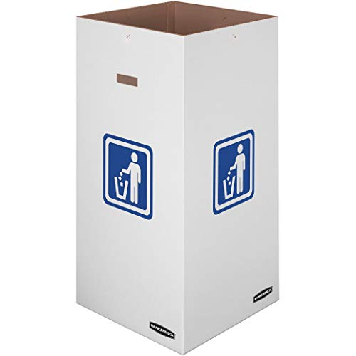 Bankers Box Large Corrugated Cardboard Trash and Recycling Containers, 50 Gallon, 10 Each (7330201), White, Green