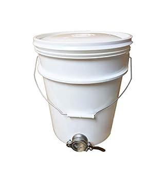 ApiHex Plastic Bucket 5 Gallon  20 Quart  White with Valve Stainless Steel Honey Gate  Stainless Steel Valve
