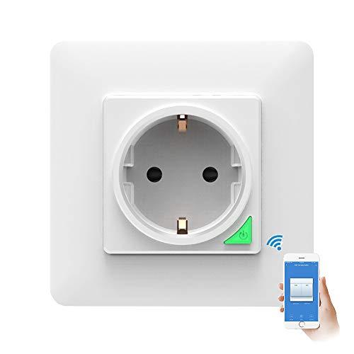 TopHGC Enchufe WiFi Inteligente, Panel de Toma de Corriente Inteligente de Pared de 16A Control Remoto Temporizador de Control de Voz con botón Funciona con Alexa Google Home