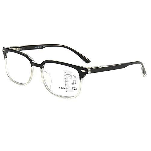 Progressive Multifocus Reading Glasses Blue Light Blocking for Women Men,No Line Multifocal Readers with Spring Hinge,(Magnification Strength:2.5X, Black)