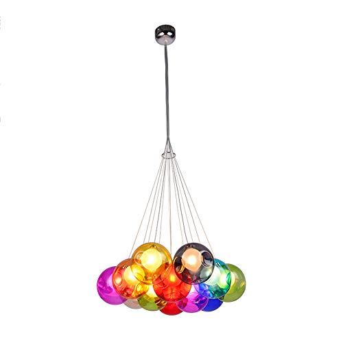 Kronleuchter Pendelleuchte Farbige Bubble Ball Lampe Glas Esszimmerlampe Für Mehrflammige Leuchten Buntglas Esszimmer Licht Farbige Bunte Glaskugel Höhenverstellbare 100CM,12Kopf