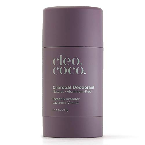 Cleo+Coco Natural Deodorant for Women, Aluminum Free made with Organic Coconut Oil, Activated Charcoal for 24-Hour Odor Protection and All-Day Performance, Made in the USA - Lavender Vanilla 2.5oz