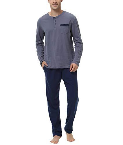 Aiboria Herren Schlafanzug Lang Baumwolle Zweiteiliger Pyjama Set Langarm Nachtwäsche Hausanzug Freizeitanzug
