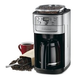 Cuisinart Grind-and-Brew 12-Cup Automatic Coffeemaker, Built In Bean Hopper and Burr Grinder, with Grind and Brew Strength Control, Features a Brew Pause Feature with Adjustable Auto Shutoff, Grinf Off Feature and Gold Tone/Charcoal Permenant Filter Included, Brushed Chrome/Black
