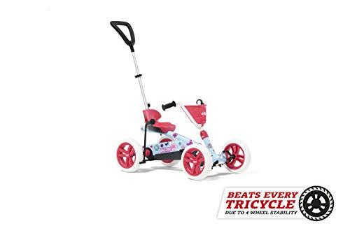 Berg Pedal Gokart Buzzy 2in1 Bloom | mit Schubstange und Schaltbarer Freilauf, Kinderfahrzeug, Sicherheid und Stabilität, Kinderspielzeug geeignet für Kinder im Alter von 2-5 Jahren