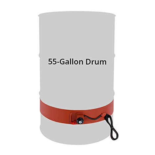 QWORK 55 Gallon Metal Drum Heater, 1200 Watt, 120 Volt, Grease Keg Heater, Insulated Band Heater