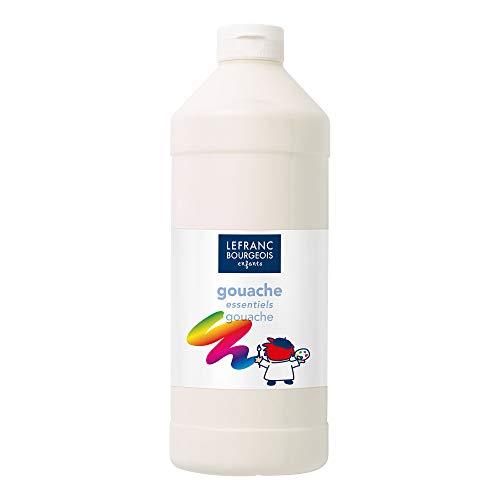 Lefranc & Bourgeois 188524 Value Kinder Gouachefarbe, auf Wasserbasis, leuchtende Farben, deckend, gebrauchsfertig, abwasschbar Dosieröffnung, 1 Liter Flasche, weiß