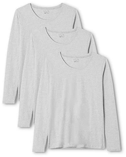 Summary GmbH (Apparel) Berydale Damen Pullover für Sport & Freizeit: Langarmshirt mit Rundhalsausschnitt, 3er Pack, Grau (Grau), XS