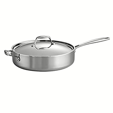 Tramontina 80116/018DS Gourmet Stainless Steel Induction-Ready Tri-Ply Clad Covered Deep Saute Pan, 5-Quart, NSF-Certified, Made in Brazil