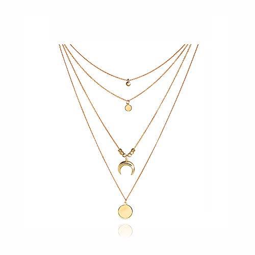 Collar de Múltiples Capas Coin Luna Mujeres Collar con Colgante Oro