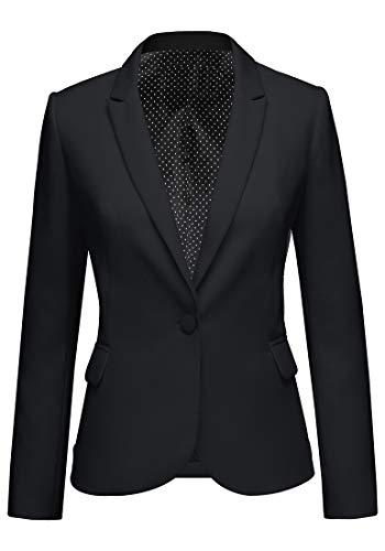 Roskiky Eingekerbter Blazer mit Revers Taschen und Knöpfe Schwarz XX-Large