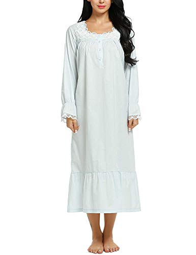 ADOME Damen Nachthemd Langarm Schlafkleid Einteiliger Schlafanzug Vintage Nightdress Sleepwear Pyjama Schwangere & Mutter Nachtwäsche, Blau, L