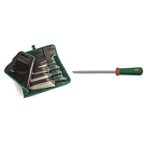 Sanelli Set 5 coltelli Premana Professional Rotolo Cuoco, Cordura, Nero/Verde & Premana Professional Acciaino, Acciaio Inossidabile, Verde/Rosso, 22 cm