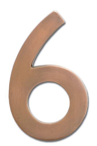 Architectural Mailboxes 3585AC-6 Brass 5-Inch Floating House Number 6, Antique Copper