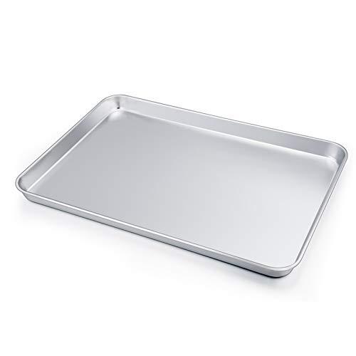 Large Baking Sheet, P&P CHEF Stainless Steel Cookie Sheet Baking Pan Tray, Rectangle 16''x12''x1'', Healthy & Non Toxic, Mirror Finish & Dishwasher Safe