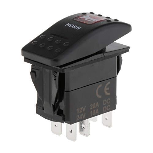oshhni Interruptor de Bocina Basculante LED de 12 V, Piezas de Botón de Camión Automático de Coche de 5 Pines