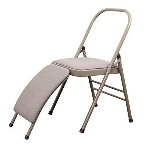 HZWZ Ayudas para sillas de Yoga Plegables de Tela, Silla Auxiliar de Yoga con Respaldo, Silla Plegable de Metal para Yoga Iyengar, Herramienta de Entrenamiento de Equilibrio, Antideslizante