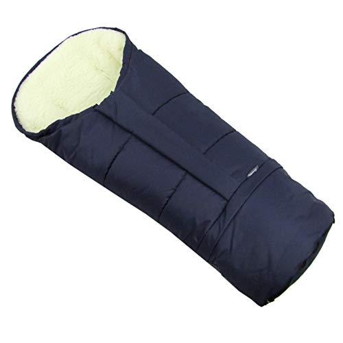 BAMBINIWELT wintervoetenzak in mummievorm voor kinderwagen, joggers, buggy of slee, van wol, grootte aanpasbaar, MUMIE UNI MARINEBLAUW