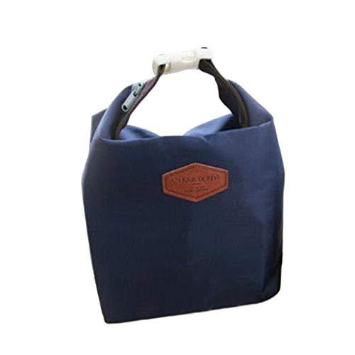 DAKERTA Tragbare Lunchpaket Isolationsbeutel Wärmeisolierte Lunchbox Tote Kühltasche Bento Pouch Lunch Container (Marine)