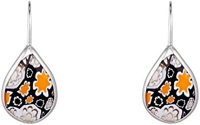 Córdoba Jewels   Pendientes en plata de ley 925 con murano diseño Lágrima Hippie Murano Onix Silve